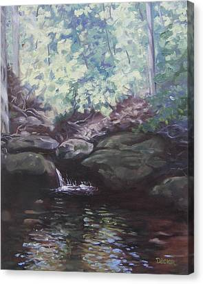 Canvas Print featuring the painting Paris Mountain Waterfall by Robert Decker