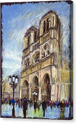 Paris Notre-dame De Paris Canvas Print by Yuriy  Shevchuk