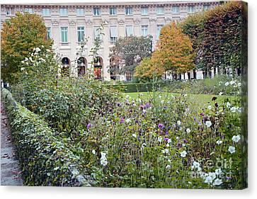 Canvas Print featuring the photograph Paris Palais Royal Gardens - Paris Autumn Fall Gardens Palais Royal Rose Garden - Paris In Bloom by Kathy Fornal