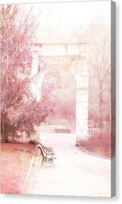 Paris Park Monceau Gardens Landscape - Dreamy Romantic Paris Pink Park Bench Park Monceau Canvas Print