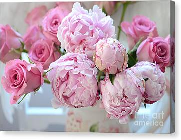 Paris Peonies And Roses Shabby Chic Dreamy Peonies - Romantic Paris Peonies And Roses Floral Art Canvas Print by Kathy Fornal