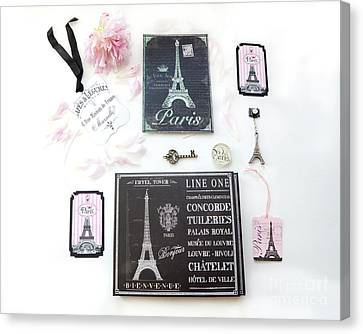 Canvas Print featuring the photograph Paris Pink Black French Script Wall Decor Art, Paris Print Collection  - Parisian Pink Black Decor   by Kathy Fornal