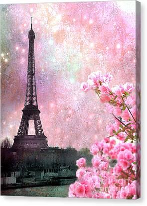 Paris Pink Dreamy Eiffel Tower Romantic Cherry Blossoms  - Paris Eiffel Tower Pink Spring Blossoms Canvas Print by Kathy Fornal