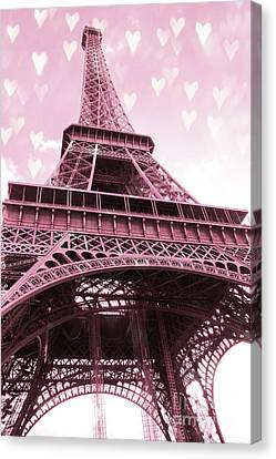 With Canvas Print - Paris Pink Romantic Eiffel Tower Valentine Hearts - Eiffel Tower Baby Girl Nursery Room Wall Art by Kathy Fornal