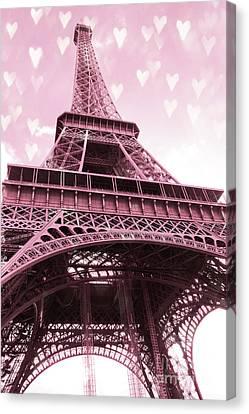 Paris Pink Romantic Eiffel Tower Valentine Hearts - Eiffel Tower Baby Girl Nursery Room Wall Art Canvas Print