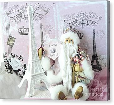 Paris Shabby Chic Holiday Santa - Paris Pink Santa Claus Joyeux Noel - Pink Santa Eiffel Tower Print Canvas Print by Kathy Fornal