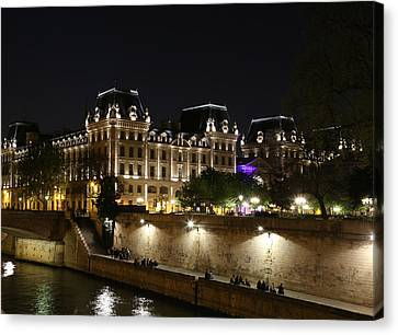 Canvas Print featuring the photograph Paris Police Headquarters by Andrew Fare