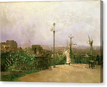 Paris Seen From The Heights Of Montmartre Canvas Print by Jean dAlheim