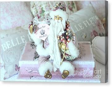 Paris Shabby Chic Pink And White Santa - Joyeux Noel - Shabby Chic Santa Claus Prints Home Decor Canvas Print by Kathy Fornal