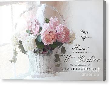 Paris Shabby Chic Romantic Pink White Hydrangeas In Basket - Paris Romantic Basket Of Flowers Canvas Print by Kathy Fornal