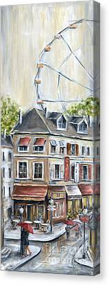 Paris Shops And Ferris Wheel  Canvas Print by Marilyn Dunlap
