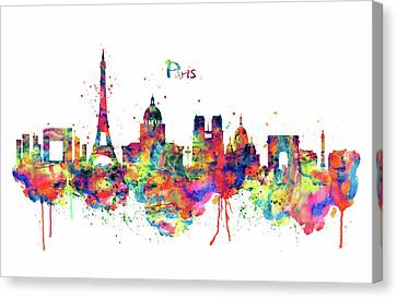 Modern Digital Art Canvas Print - Paris Skyline 2 by Marian Voicu