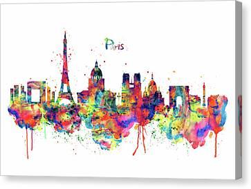 Colorful Paints Canvas Print - Paris Skyline 2 by Marian Voicu