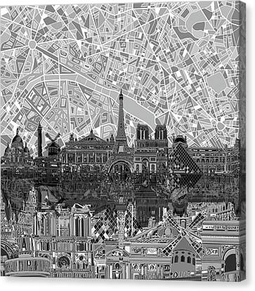 Canvas Print featuring the painting Paris Skyline Black And White by Bekim Art