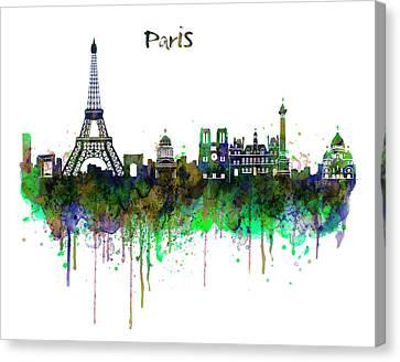 Paris Skyline Watercolor Canvas Print by Marian Voicu