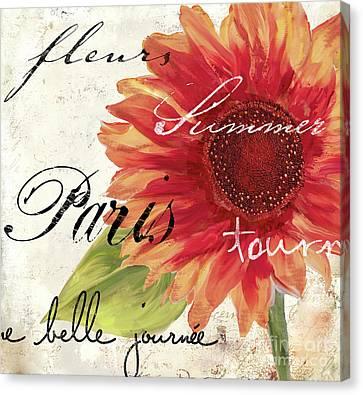 Flowers Gerbera Canvas Print - Paris Songs II by Mindy Sommers