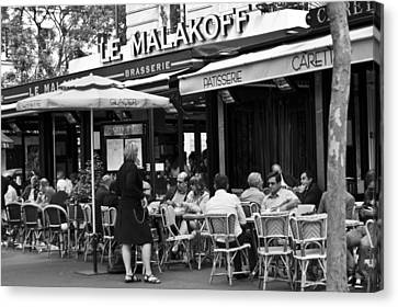 Wine Service Canvas Print - Paris Street Cafe - Le Malakoff by Georgia Fowler