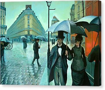 Paris Street Rainy Day Canvas Print by Jose Roldan Rendon