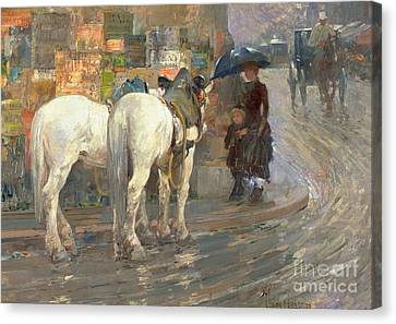 Paris Street Scene Canvas Print by Childe Hassam