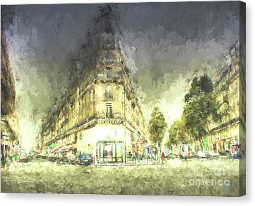 Canvas Print featuring the mixed media Paris Streets by Jim  Hatch