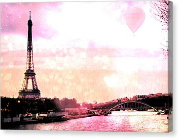 Paris Surreal Eiffel Tower Pink Yellow Abstract Canvas Print by Kathy Fornal