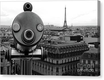The Eiffel Tower Canvas Print - Paris Telescope Skyline Eiffel Tower And Rooftops - Telescope Paris Black And White Photography  by Kathy Fornal