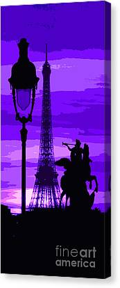 Paris Tour Eiffel Violet Canvas Print by Yuriy  Shevchuk