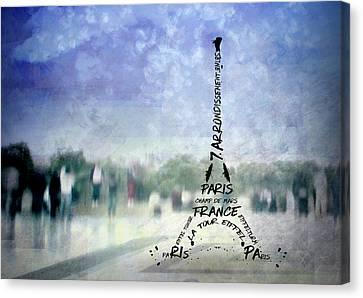 Paris Trocadero And Eiffel Tower Typografie Canvas Print by Melanie Viola