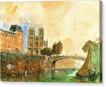 Paris Watercolor Canvas Print by Juan  Bosco