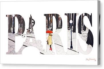 Paris Word Art Canvas Print