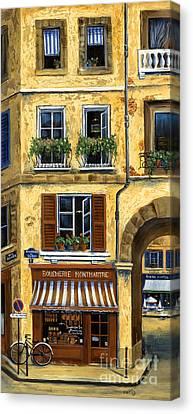 Parisian Bistro And Butcher Shop Canvas Print