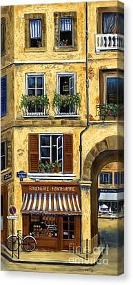 Parisian Bistro And Butcher Shop Canvas Print by Marilyn Dunlap