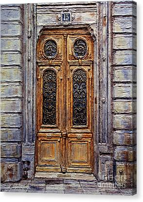 Canvas Print featuring the painting Parisian Door No. 15 by Joey Agbayani