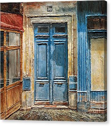 Canvas Print featuring the painting Parisian Door No.36 by Joey Agbayani