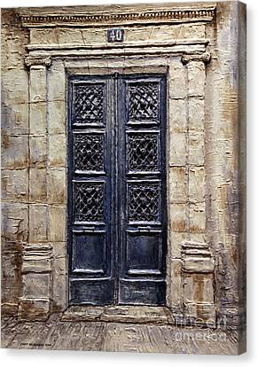 Canvas Print featuring the painting Parisian Door No.40 by Joey Agbayani