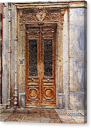Canvas Print featuring the painting Parisian Door No.7 by Joey Agbayani