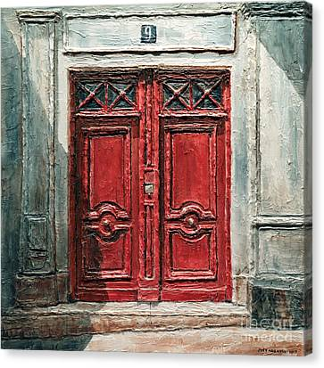 Canvas Print featuring the painting Parisian Door No.9 by Joey Agbayani