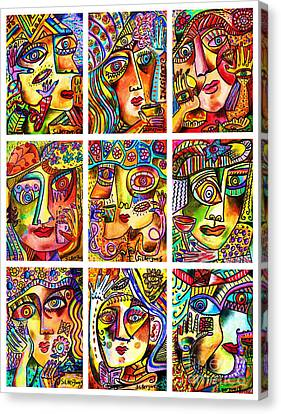 -parisian Cafe Ladies Canvas Print by Sandra Silberzweig