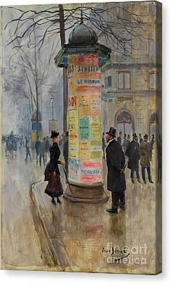 Canvas Print featuring the photograph Parisian Street Scene by John Stephens