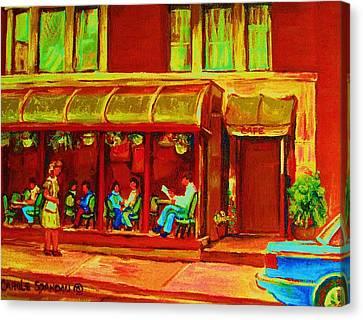Park Avenue Montreal Cafe Scene Canvas Print by Carole Spandau
