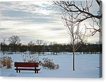 Park Bench Canvas Print by Angela Siener