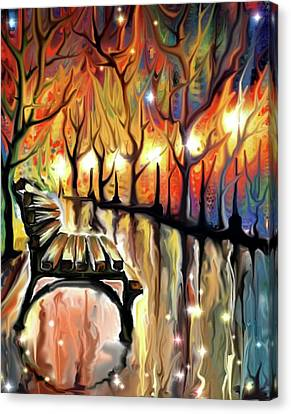 Canvas Print featuring the digital art Park Bench by Darren Cannell