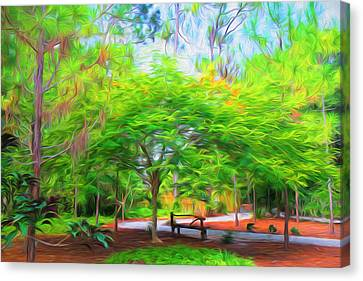 Park  Bench Canvas Print by Louis Ferreira