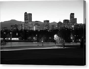 Canvas Print featuring the photograph Park Bench Under The Denver Colorado Skyline - Black And White by Gregory Ballos
