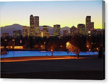Canvas Print featuring the photograph Park Bench Under The Denver Colorado Skyline by Gregory Ballos