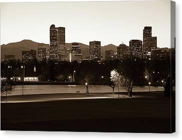 Canvas Print featuring the photograph Park Bench Under The Denver Colorado Skyline - Sepia 2 by Gregory Ballos