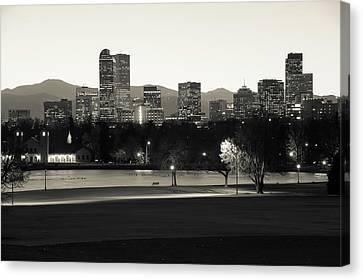 Canvas Print featuring the photograph Park Bench Under The Denver Colorado Skyline - Sepia by Gregory Ballos