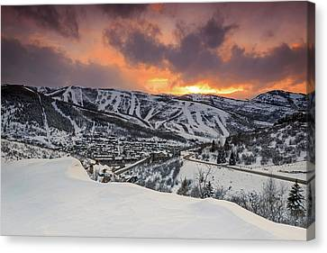 Canvas Print featuring the photograph Park City Winter Sunset. by Johnny Adolphson