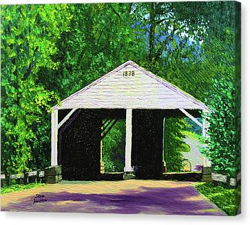Park Covered Bridge Canvas Print by Stan Hamilton