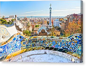 Park Guell Barcelona Canvas Print by Luciano Mortula